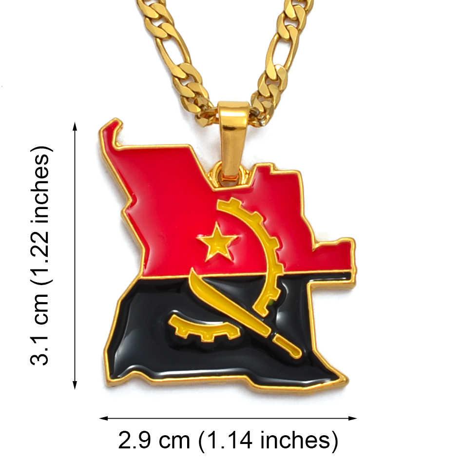 Anniyo Angola mapa i flaga naszyjnik złoty kolor afrykański wisiorek biżuteria angolskie mapy kraju dla kobiet/mężczyzn #115906