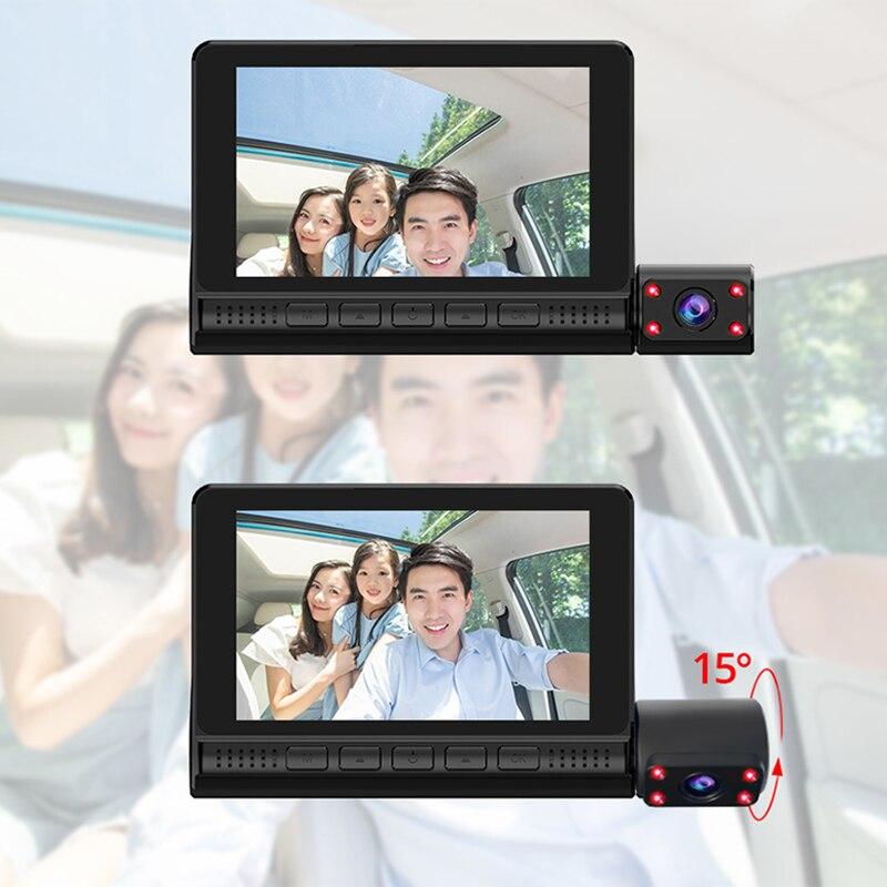 LAMJAD DVR 4.0 Inch Auto Recorder 1080P FHD Dashcam Night Vision car dvrs 3 Camera lens Car Camera DashCam Video Recorder