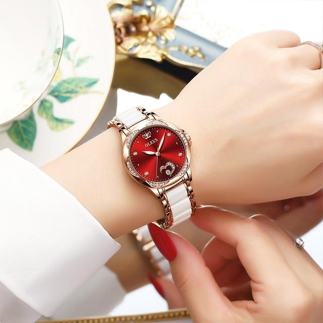 OLEVS Women watch Set Waterproof Automatic Mechanical watch Female Ceramic watch Gift for Women Wristwatches 3