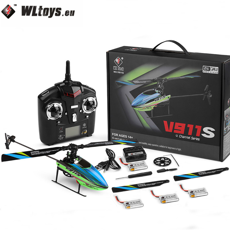 WLtoys V911S 2.4G 4CH 6-Aixs Gyroscope Flybarless RC Helicopter RTF Model Toys W/ 4PCS 3.7V 250MAh Lipo Battery