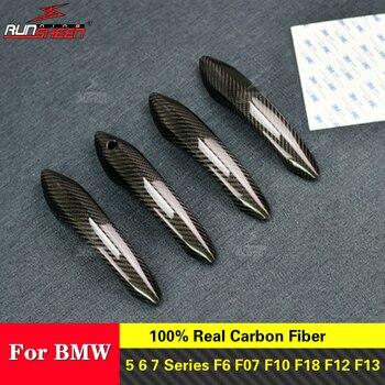 Real Carbon Fiber  Car Door Handle Trim Accessories for BMW 5 6 7 Series F6 F07 F10 F18 F12 F13 F01 F02 F10 M6 F12 Car Styling
