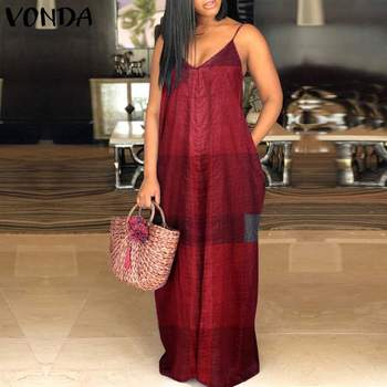 VONDA Sexy Summer Dress Women Bohemian Vintage Plaid Print Long Sundress Casual Straps Sleeveless Beach Robe Femme Plus Size vonda summer dress 2020 women sexy ruffled neck sleeveless tank mini dresses plus size bohemian party robe femme vestidos