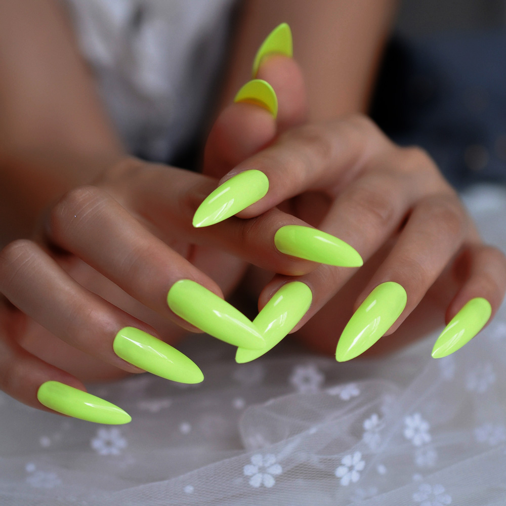Neon Fluorescent Green Press On False Nails Extra Long Stiletto Pointed UV Gel Glue On Fake Fingersnails Free Adhesive Tapes