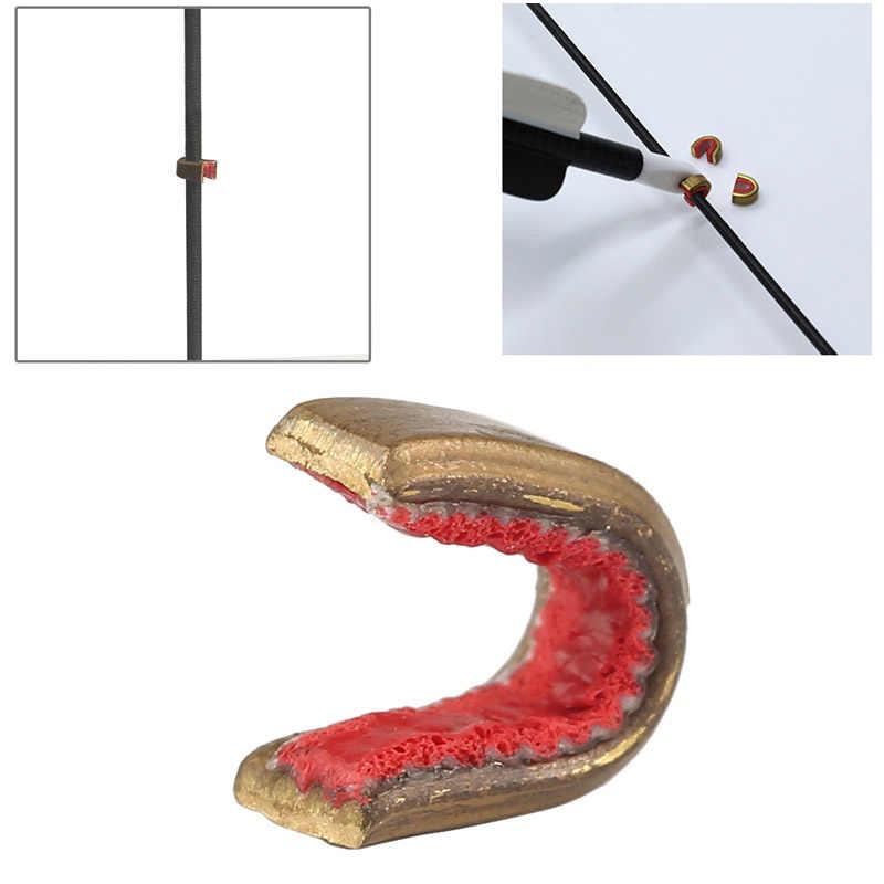 最新 1 ピース/パックボウストリングバックル真鍮ノックポイント安定化化合後ろに反らす弓適切な矢印アーチェリー射撃屋外