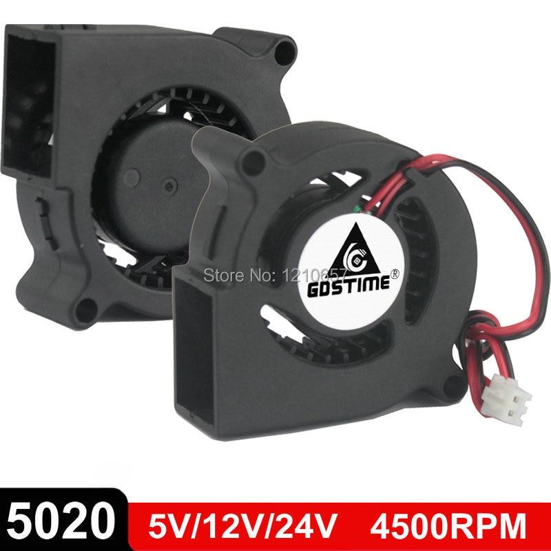 5pcs 50mm 12V Blower 0.12A 2Pin  DC Fan Brushless Industrial Cooler Fan 50x20mm