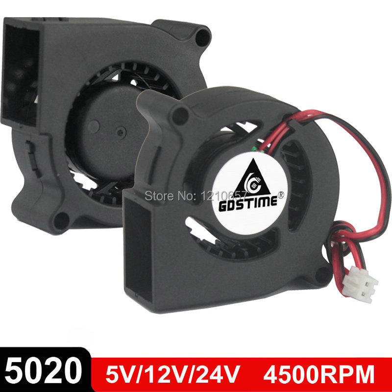 2Pcs/Lot Gdstime 5020 Blower DC <font><b>5V</b></font> 12V 24V Centrifugal Turbine <font><b>Fan</b></font> 50mm x <font><b>20mm</b></font> 5cm 2Pin Cooling Cooler image