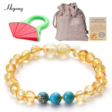 Amber Teething Bracelet Jewelry for Babies Natural Baltic Necklace Baby Beads Handmade