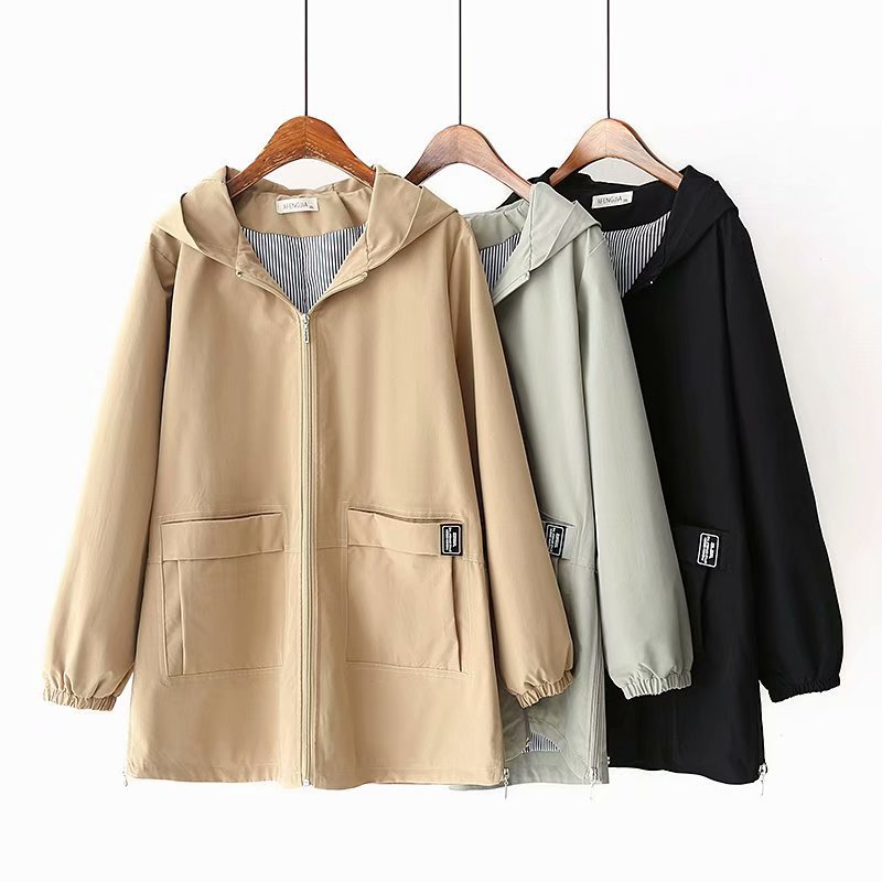 2019 New Oversize Hooded   Trench   Coat Women Spring Autumn cotton Outerwear Casual tops female Cozy Plus size 5XL Windbreaker G748