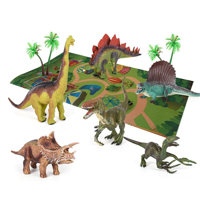 Dinosaur Toy Figure W/ Activity Play Mat & Trees Realistic Dinosaur Playset 72XC