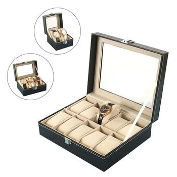 2/3/10/12 Slots Watch Storage Box Black Leather Organizer Mechanical Mens Watches Display Holder Cas