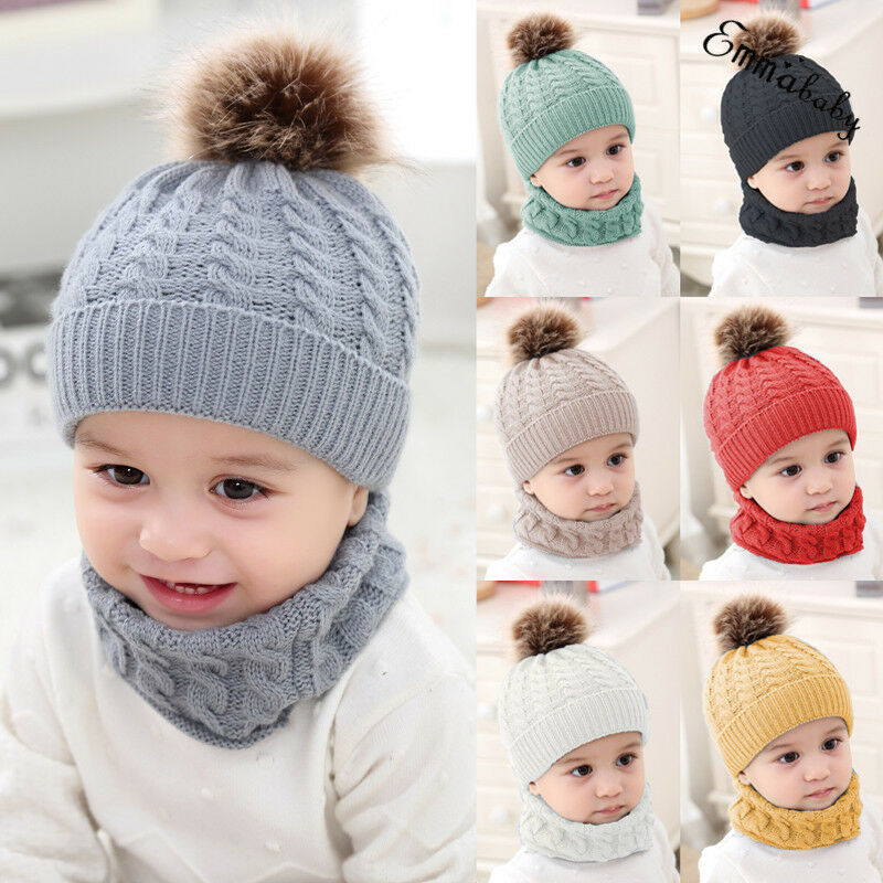 Kids Baby Boy Girl Winter Knitted Hat Scarf 2Pcs Sets Toddler Kids Warm Beanie Crochet Cap Scarf Cotton Outfits 0-3Y