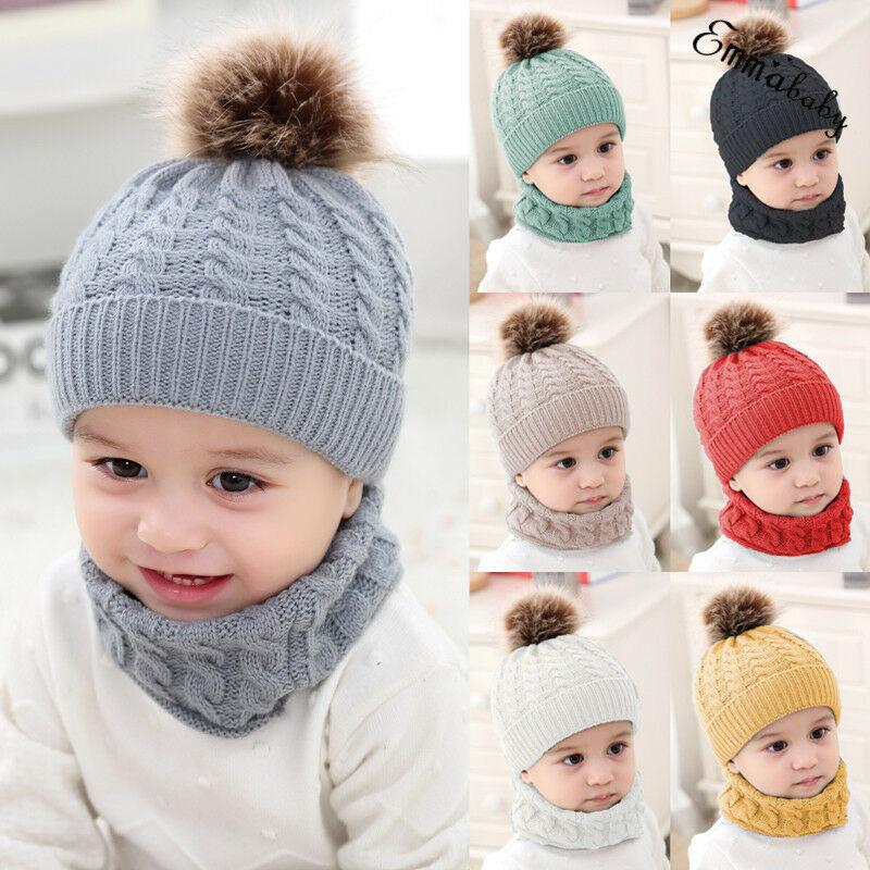 2Pcs//set Baby Boy Knit Girl Winter Hat Toddler Kid Warm Beanie Crochet Cap+Scarf