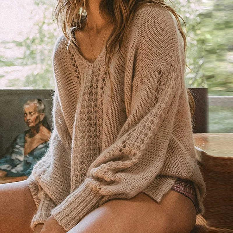 Elsvios Sexy V Neck Hollow Out sweter kobiet jesień z długim rękawem swetry z dzianiny stałe na co dzień zima ciepłe swetry topy Jumper
