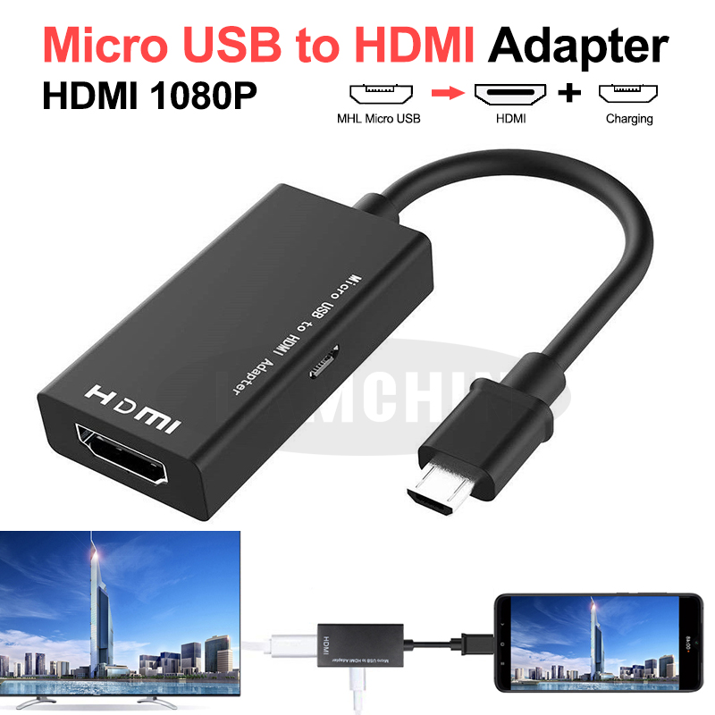 Micro USB To HDMI TV Adapter Cable 1080P HD HDMI Audio Video Converter For Phone TV Computer Adapter