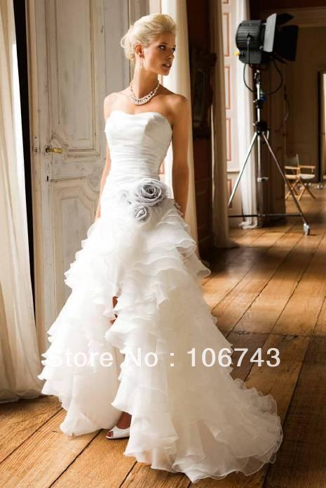 Free Shipping 2016 New Style Sexy Bride Wedding Custom Size F Loor-length Flowers Tiered Wedding Dress