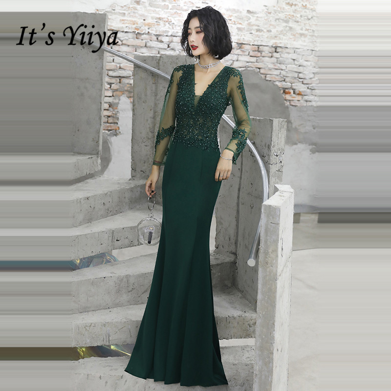 It's Yiiya Evening Dresses Elegant Green V-neck Evening Dress Long Sleeve Crystal Lace Party Gown Plus Size Robe De Soiree LF014