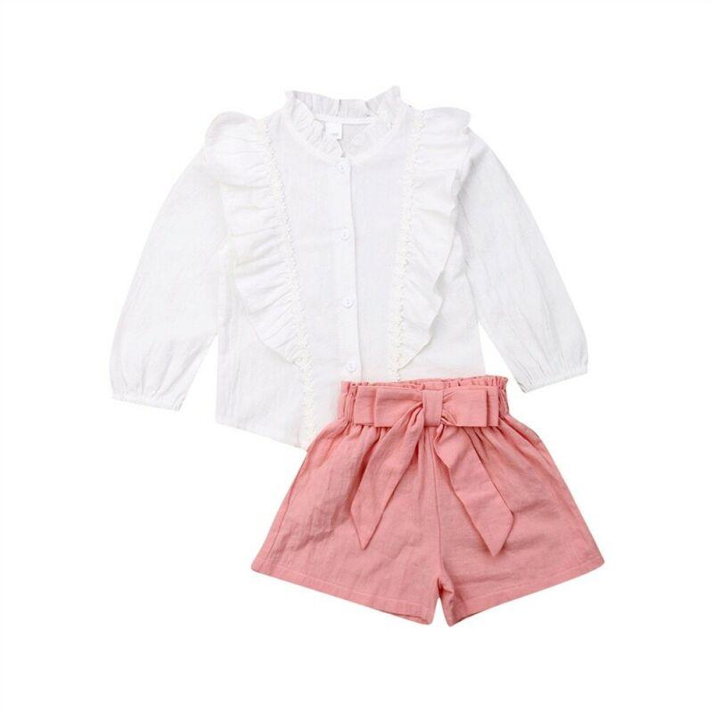 Female Children Clothing Girl Summer Set Infantil Girls Kids Ruffles Long Sleeve Blouse +Shorts Suit Toddler Girl Clothing Sets