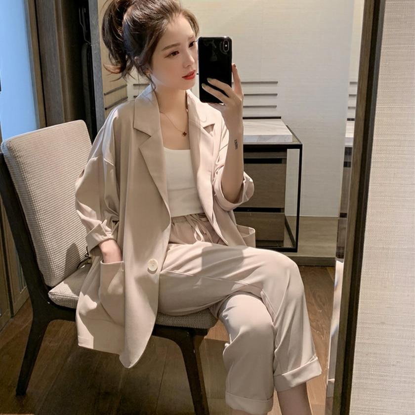Women Pant Suits Solid Lantern Sleeve Single Breasted Blazer High Elastic Waist Wide Leg Pants Casual Pink Beige 2 Piece Set
