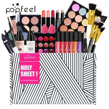POPFEEL All In One Makeup Kit(Eyeshadow, LiGloss,Lipstick,Brushes,Eyebrow,Concealer)Beauty Cosmetic Bag 1