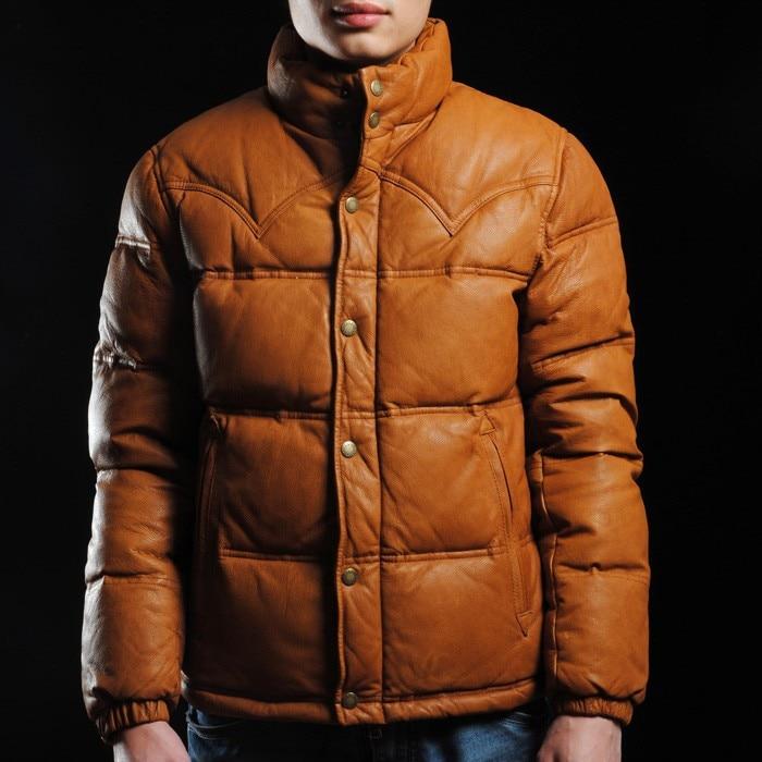 100% goatskin 2020 Fashion men black/yellow genuine super warm down coat in winter leather jacket
