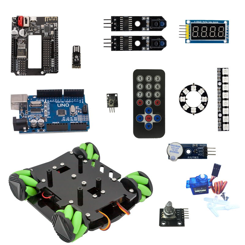 DIY Obstacle Avoidance Smart Programmable Robot Car Educational Learning Kit With Mecanum Wheels For Arduino- Set B