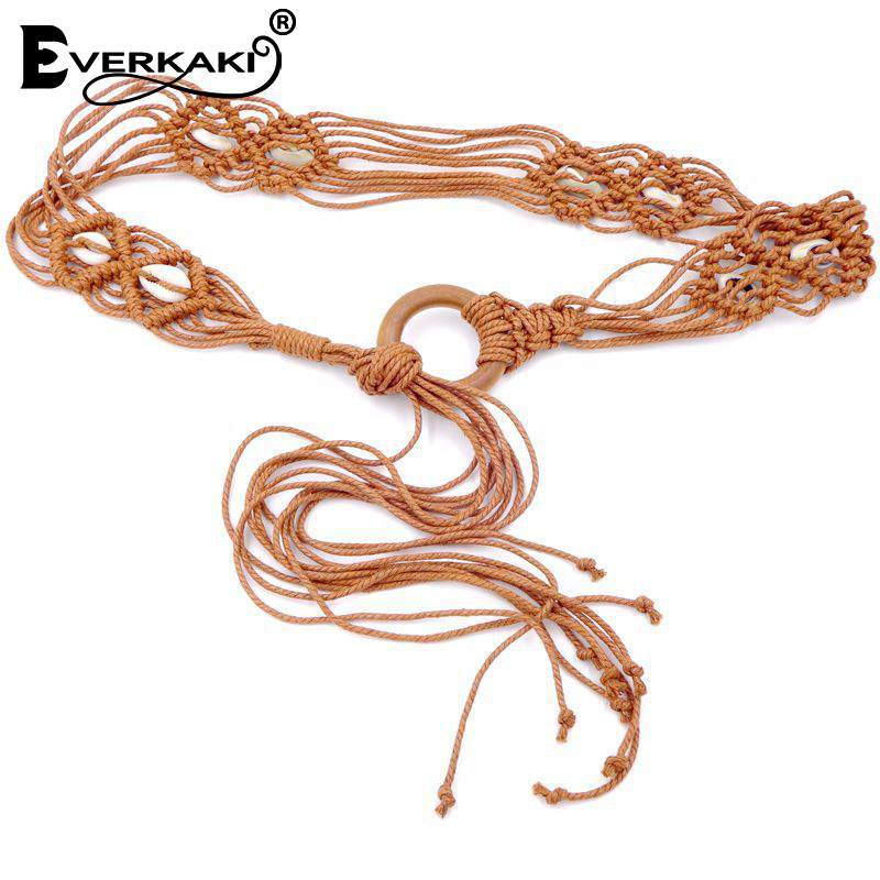 Everkaki Boho Wax Rope Knitted Sashes Waist Belt Round Wooden Buckle Solid Gypsy Casual Belts For Women Dress Jeans 2020 New