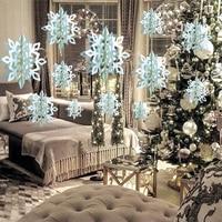 Congelados decoración de la fiesta de 3D Artificial copos de nieve de papel Garland adornos navideños para el hogar de las maravillas de invierno decoración de fiesta de nieve