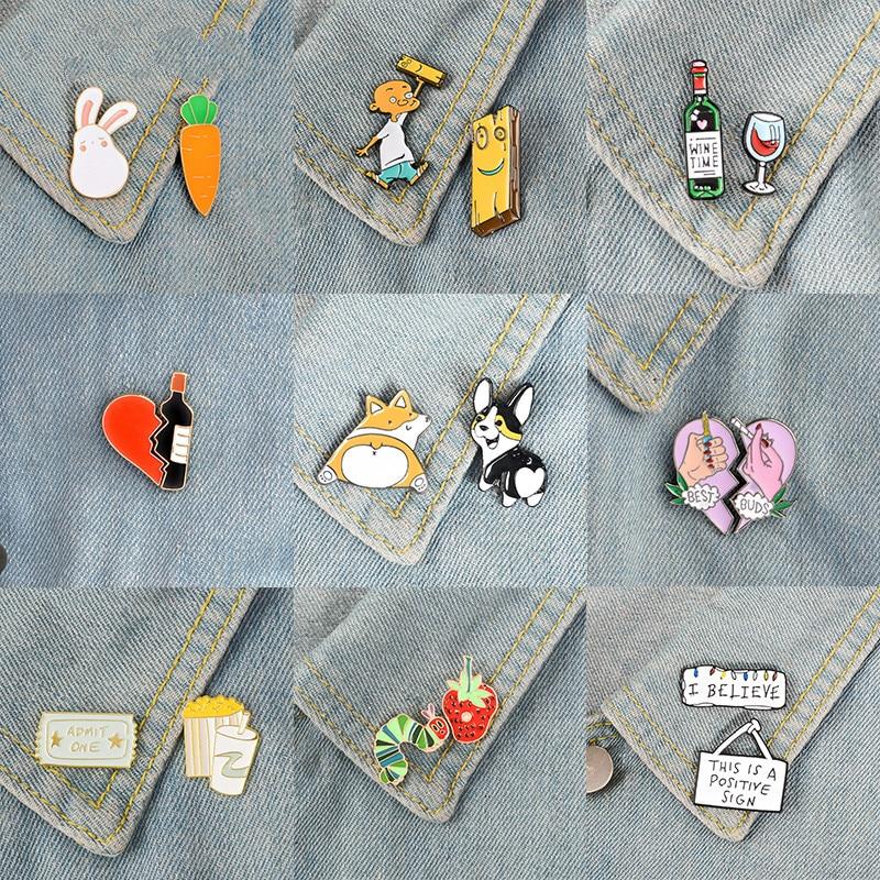 2pcs/set Good Partner Buddy Enamel Pins Wine Dogs Heart Brooches Custom Lovers Badge for Bag Lapel Friends Jewelry Gift Kids