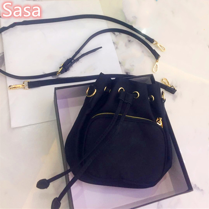 Sasa Luxury Nylon Bag Bucket Bag 2straps Leather Material Black Color String Shoulder Totes For Lady Pocket Wallet