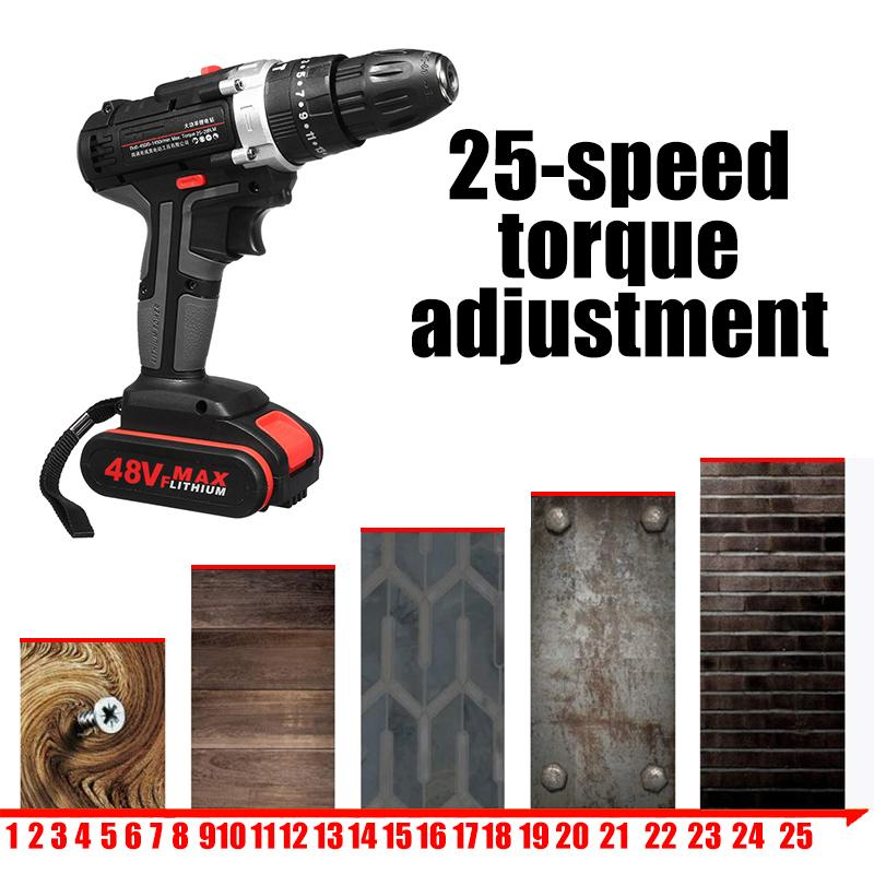 [US Plug] 48V Cordless Electric Impact Drill Rechargeable Drill Screwdriver With 1 Or 2 Li-ion Battery 25-28Nm Torque Power