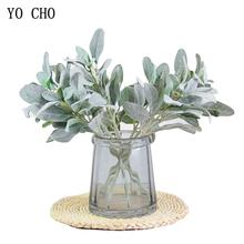 Sztuczne jedwabne uszy królika uciekają sztuczne liście kwiatowe bukiety ślubne dekoracyjne sztuczne kwiaty strona główna sztuczne kwiaty tanie tanio YO CHO CN (pochodzenie) 1 pc Pulpit Jedwabiu Liść