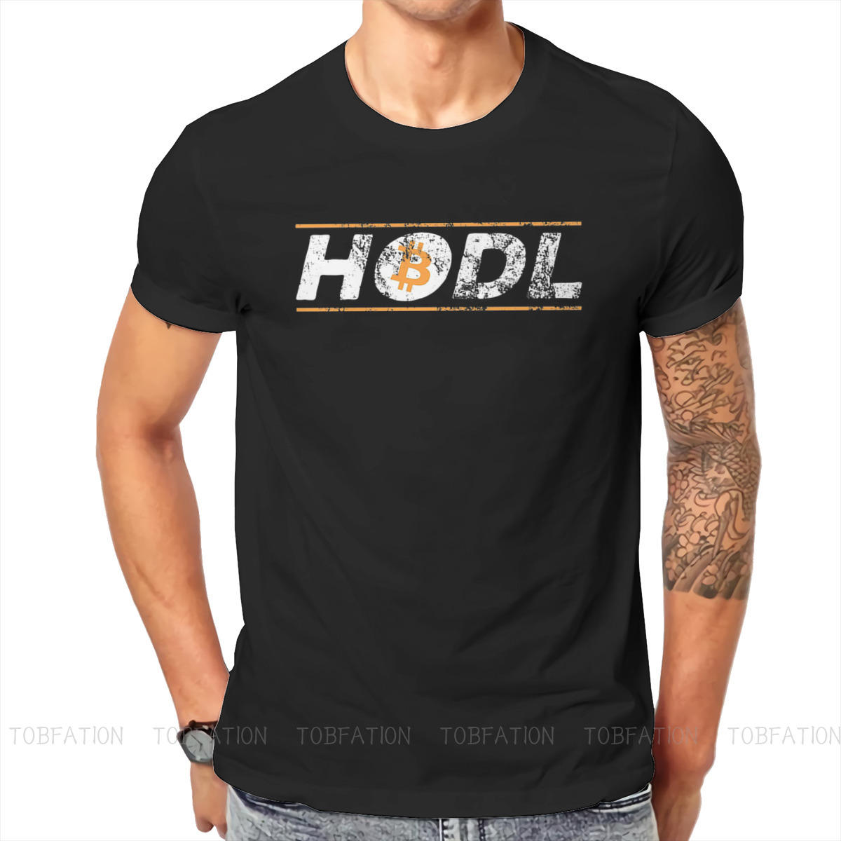 Vintage HODL  Hold BTC Essential Bitcoin Cryptocurrency Art Tshirt Black Punk T shirt Tops Homme Pure Cotton Short Sleeve Tops 1