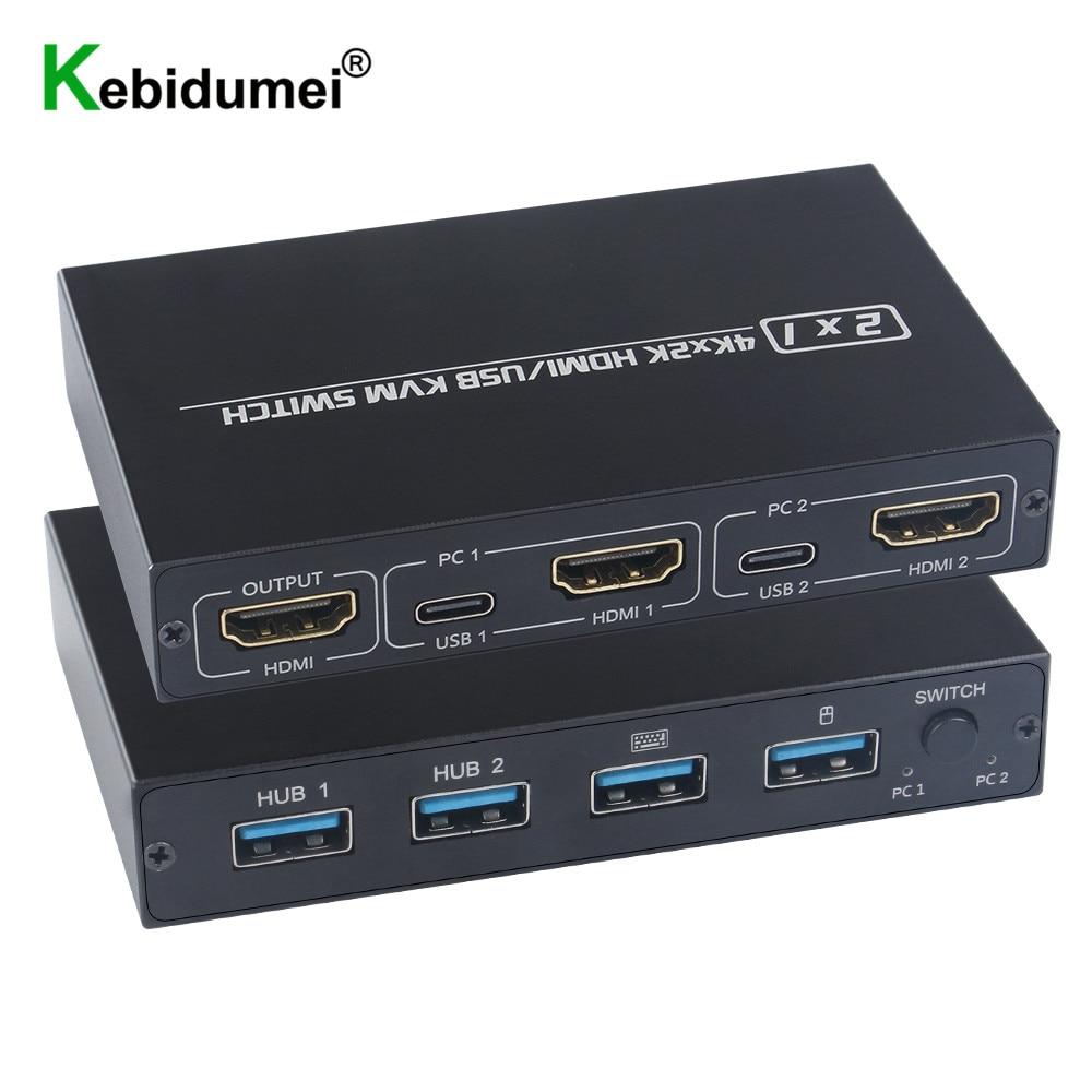 Splitter Switch KVM USB 4K a 2 porte compatibile HDMI per Monitor condiviso tastiera e Mouse adattivo EDID / HDCP stampante Plug & Play