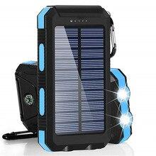 Солнечный портативный водонепроницаемый портативный внешний аккумулятор 30000 мА/ч для всех смартфонов, аккумулятор для быстрой зарядки, внешний аккумулятор LED
