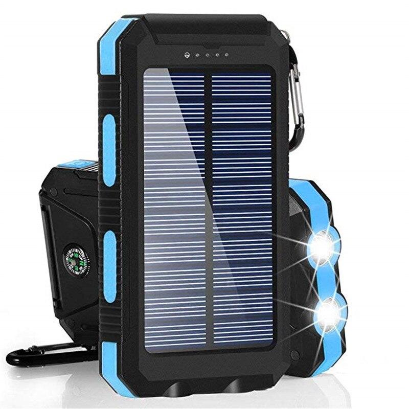 Banco de potência portátil impermeável portátil solar 30000 mah para toda a bateria do telefone inteligente powerbank carregamento rápido bateria externa led