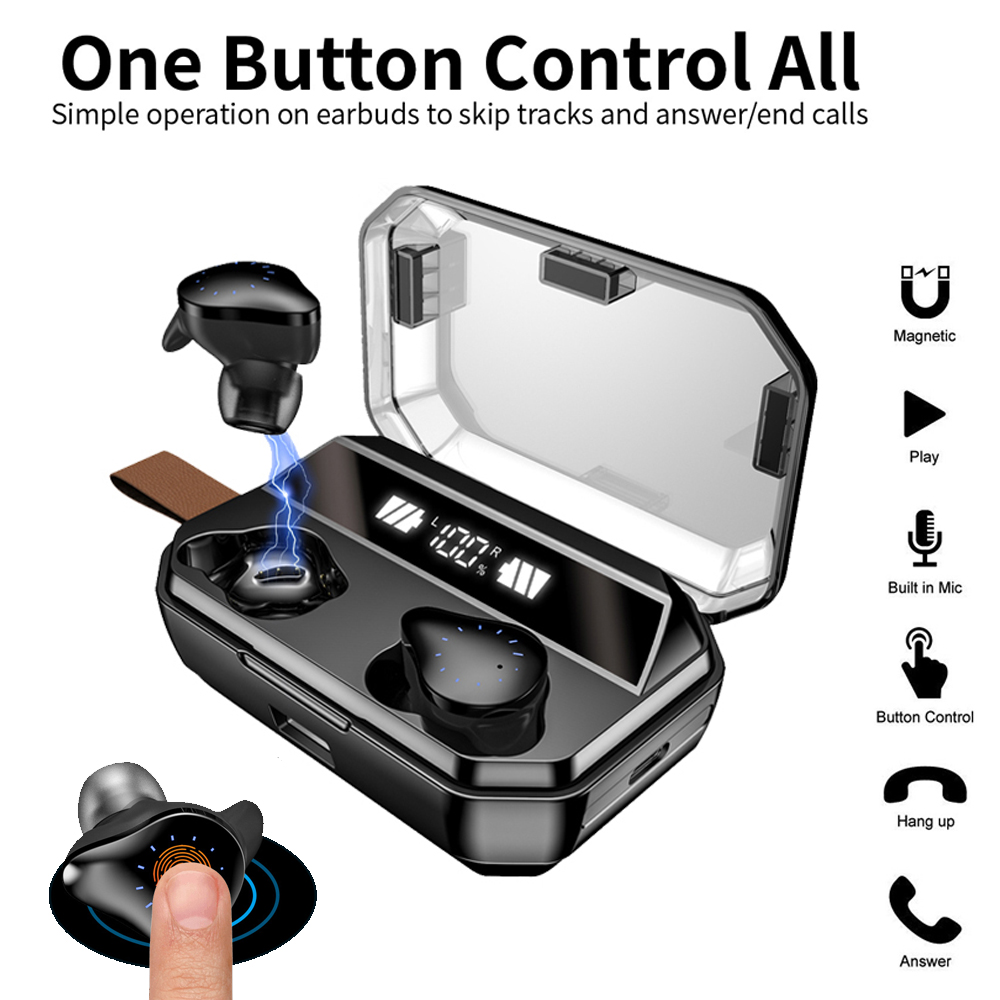 <font><b>X12</b></font> <font><b>TWS</b></font> <font><b>8000mAh</b></font> Wireless in Ear Earphone Bluetooths Wireless Earbuds with Watch Type Breathing Light Smart Touch Voice Control image