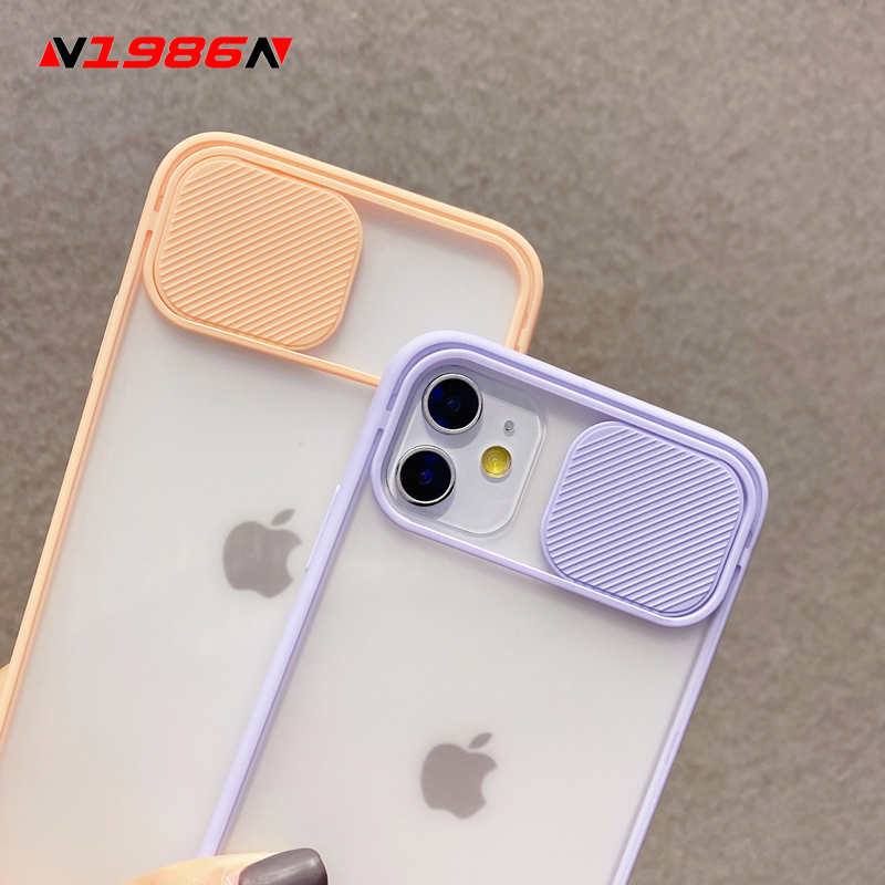 N1986N Phone Case For iPhone 11 Pro Max X XR XS Max Fashion Slide Cover Camera Protection Candy Colors Hard PC For iPhone 11 Pro