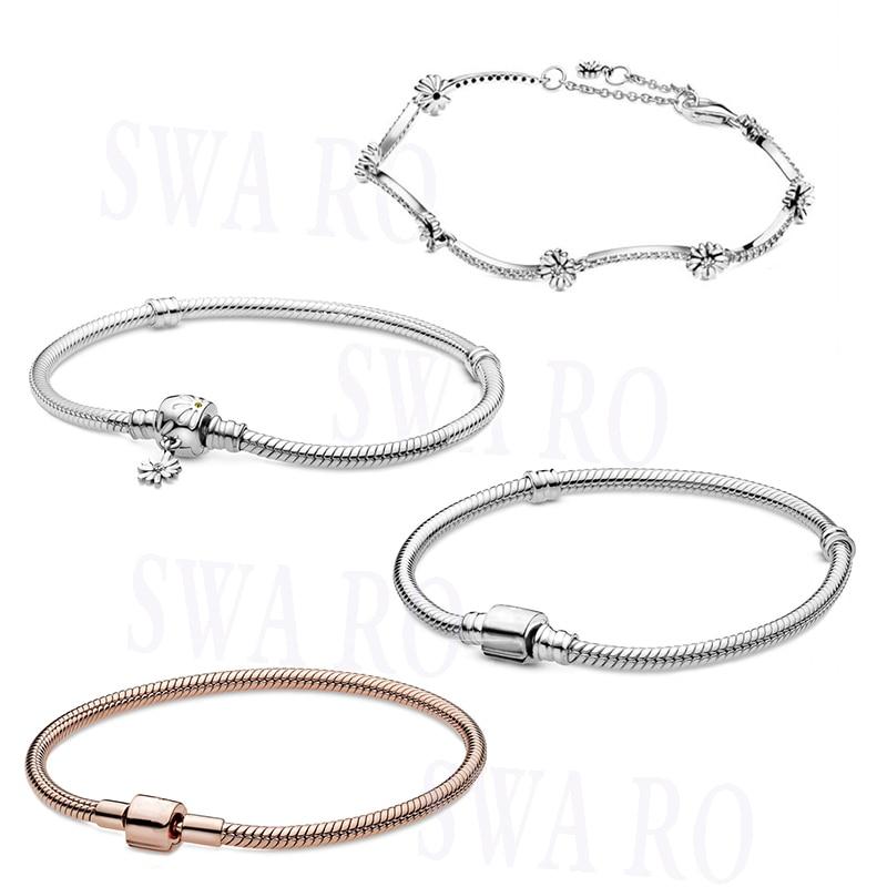 2020 New Fashion High Quality Hatsune 925Moments Daisy Flower Snake Chain, Bucket Snake Chain Bracelet Original Woman Jewelry