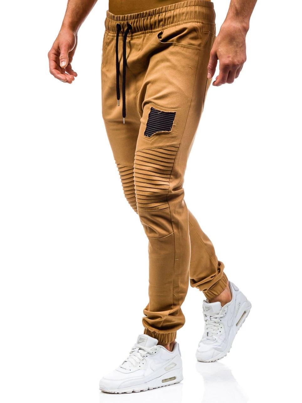 Men Sweatpants Casual Pants Slim fit Drawstring Sweatpants Slacks Elastic Waist Patchwork Pleated Ultrathin Male Trousers Jogger 10