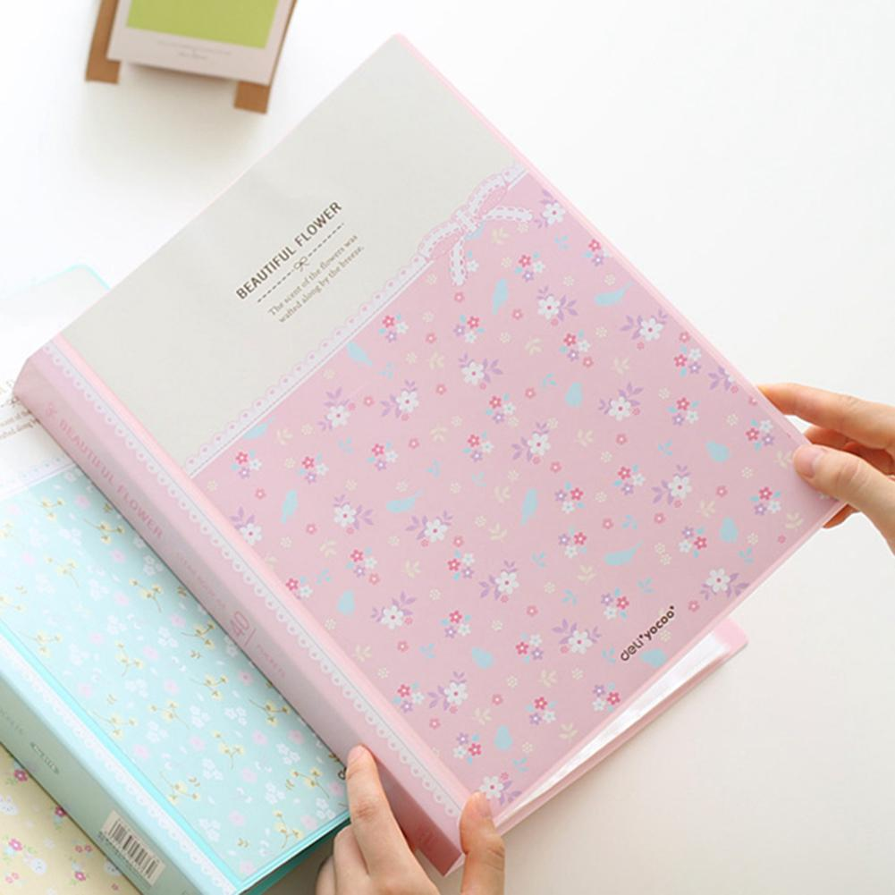 40 Pages A4 Paper Documents Floral File Holders Storage Binder Folder Pouch