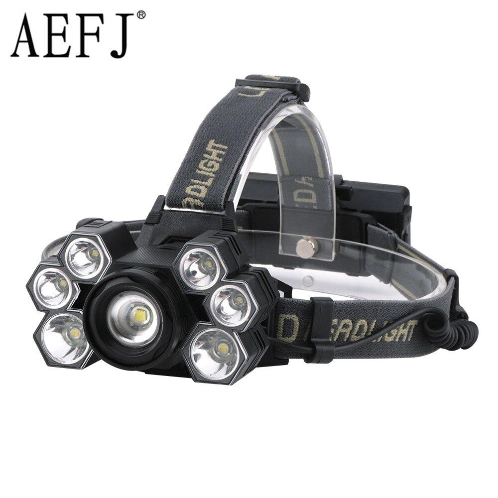 AEFJ Super Bright 7000 Lumens 7 Led ZOOM Headlamp XML T6 Headlight Waterproof 18650 Head Flash Lamp Camp Hike Fishing Light