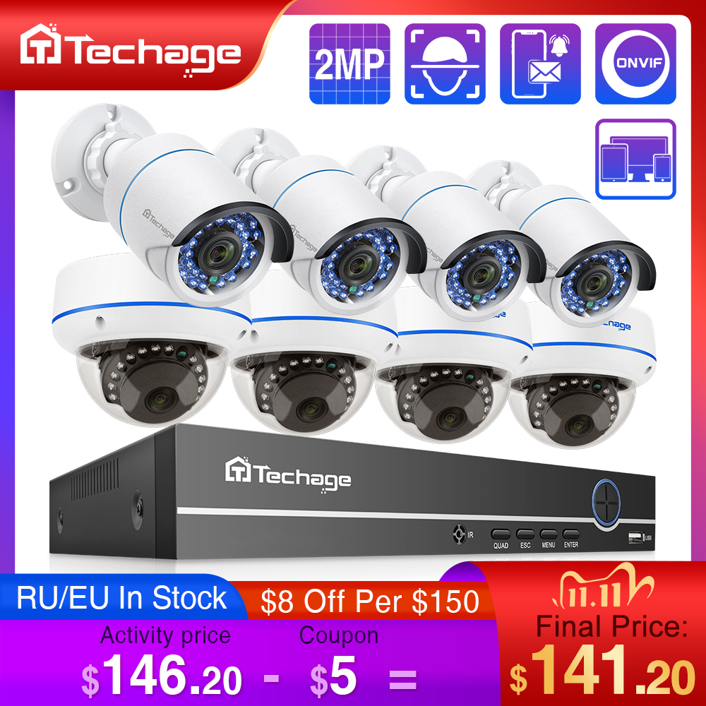 H 265 8CH 1080P HDMI POE NVR Kit Up To 16CH CCTV System 2MP Indoor Outdoor Audio Dome IP Camera Video Security Surveillance Set
