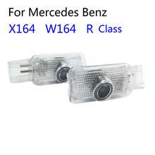 2 pces carro conduziu a porta bem-vinda luz logotipo de projeção para mercedes benz w251 r classe w164 ml x164 gl r300 r320 r350 ml300 ml450 ml500