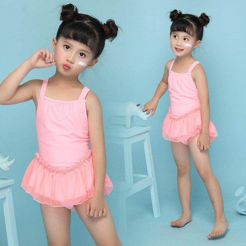 New Style KID'S Swimwear Girls Japanese Korean Sweet Cute Princess Skirt Female Baby Children Tiao Wu Qun One-piece Swimwear