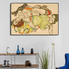 Egon Schiller Painting《Two girls lying down and lingering》Wall Art Canvas Painting Impressionist Realism Poster Art Home Decor american realism