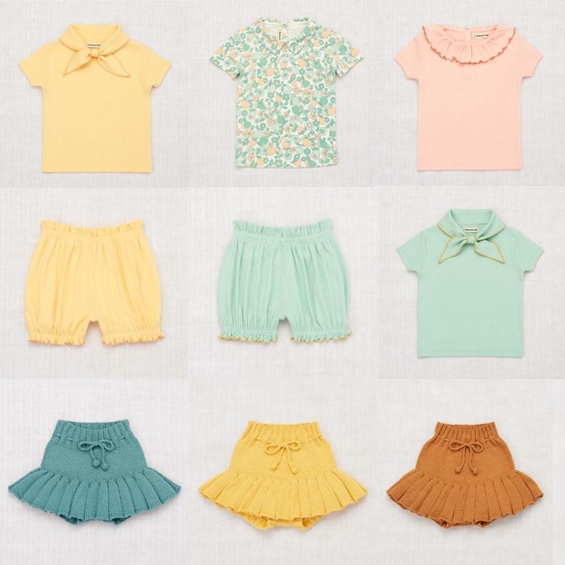 Misha And Puff 2020 Kids Girls Summer Tshirt And Skirt Beautiful Toddler Girl Ruffle Collar T Shirts Baby Girl Clothes Tops