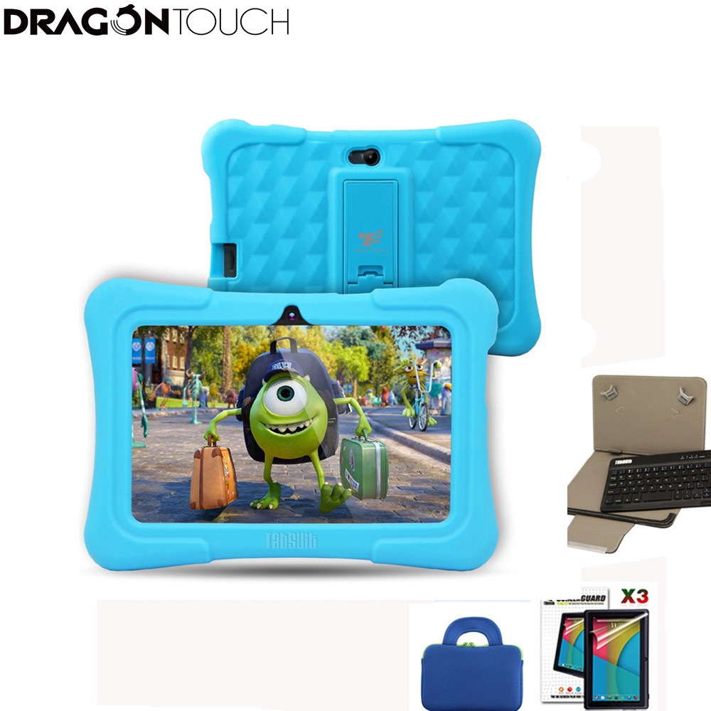 DragonTouch Blue Y88X Plus 7 Inch Children Kids Tablets Quad Core Android 8.1+Tablet Bag+3pcs Screen Protector+keyboard For Kids