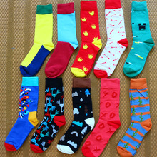New mens color combed cotton personality fun colorful funny cartoon animal high quality fashion casual socks