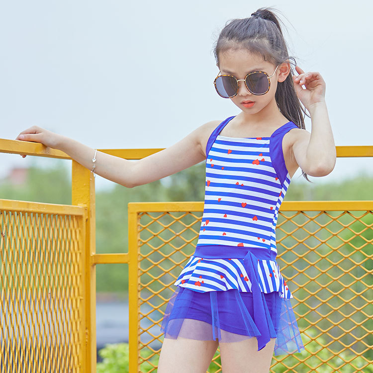 KID'S Swimwear Dress-Bathing Suit Belly Covering Students Big Kid Students Swimwear Star Navy Stripes-Style Children