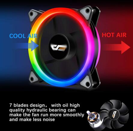 Darkflash DR12 PRO aura sync 120mm Cooling Fan RGB Adjustable speed Adjust LED 12cm Double halo pc computer Cooler argb Case Fan 3